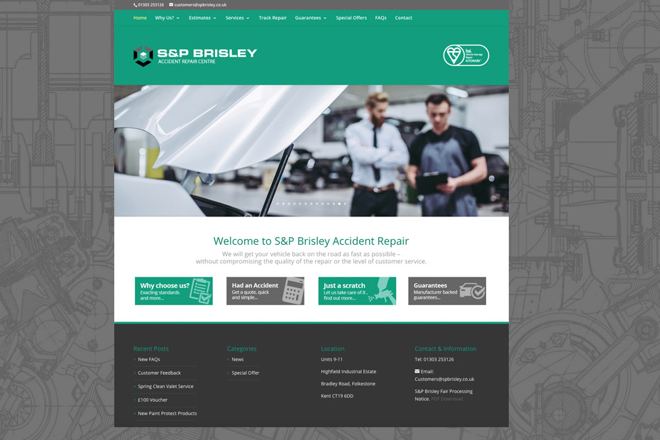 SP Brisley Accident Repair Identity Design