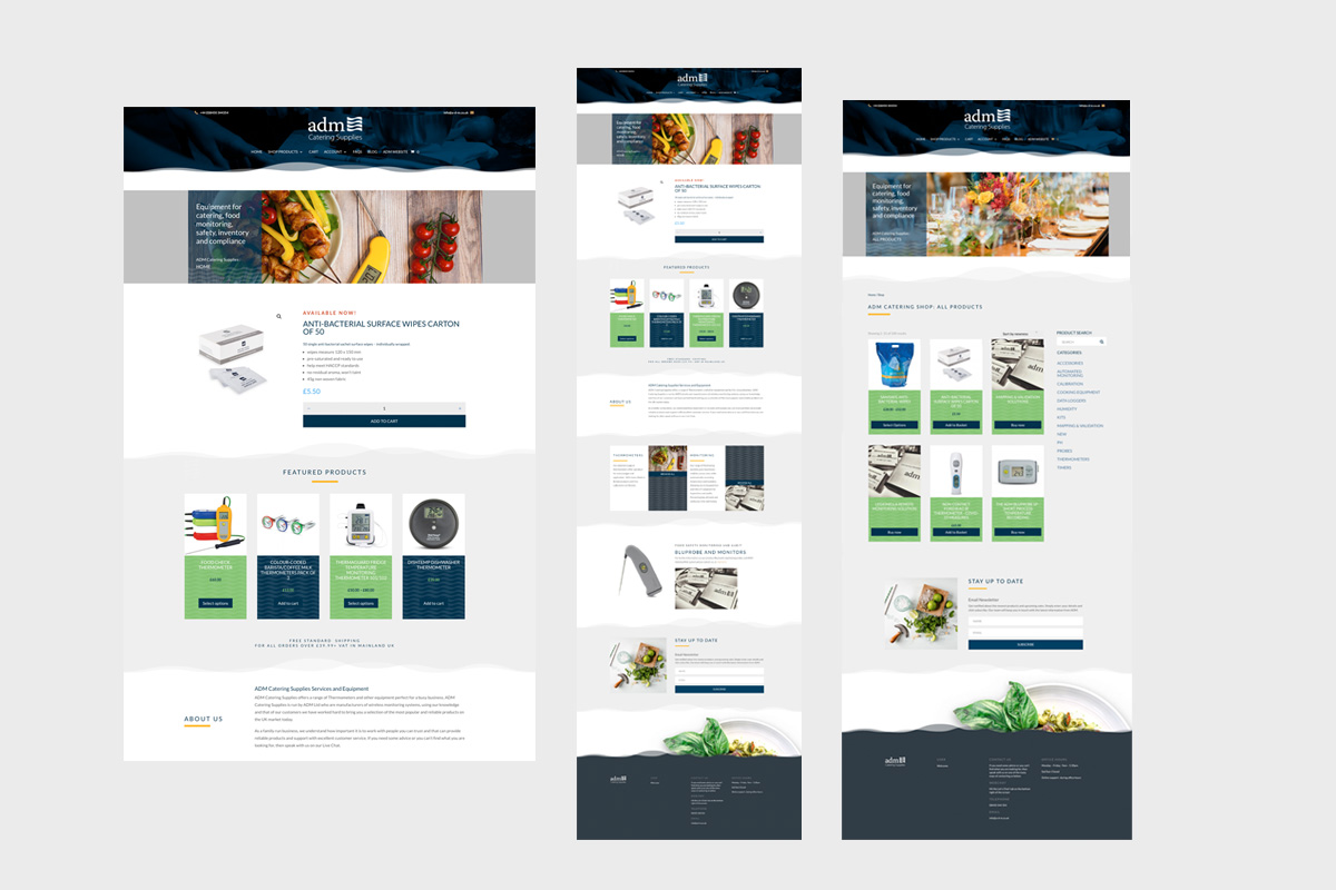admcatering supplies e-commerce website