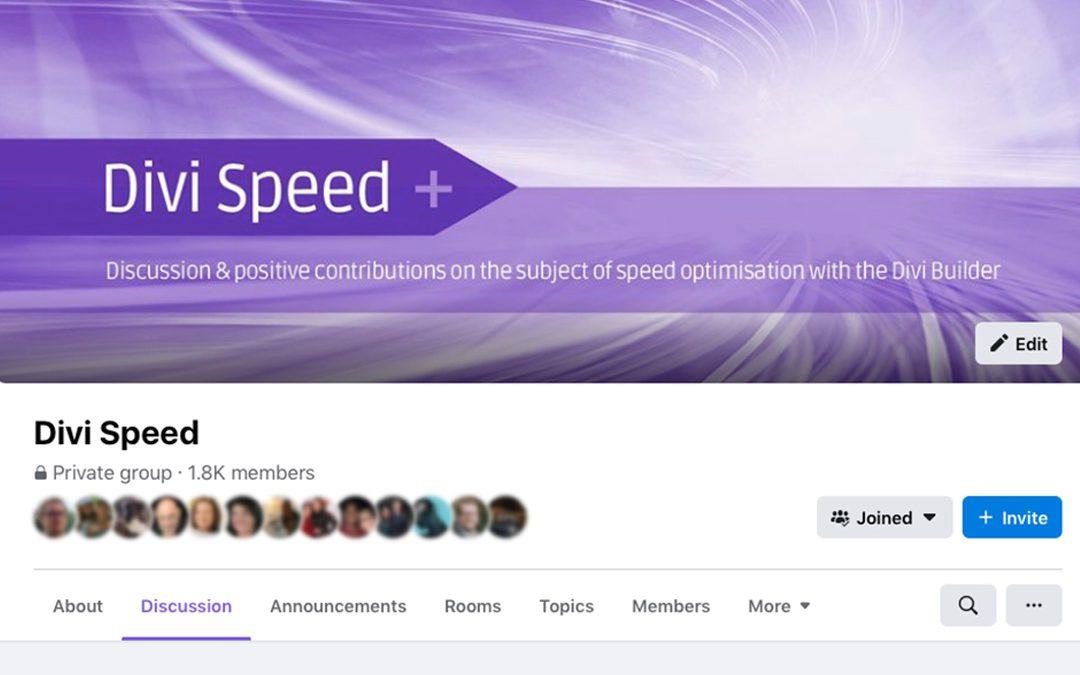 Divi Speed Facebook Group