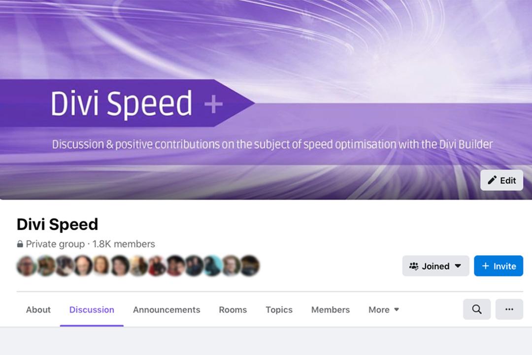 Divi Speed FAcebook Group Header Image
